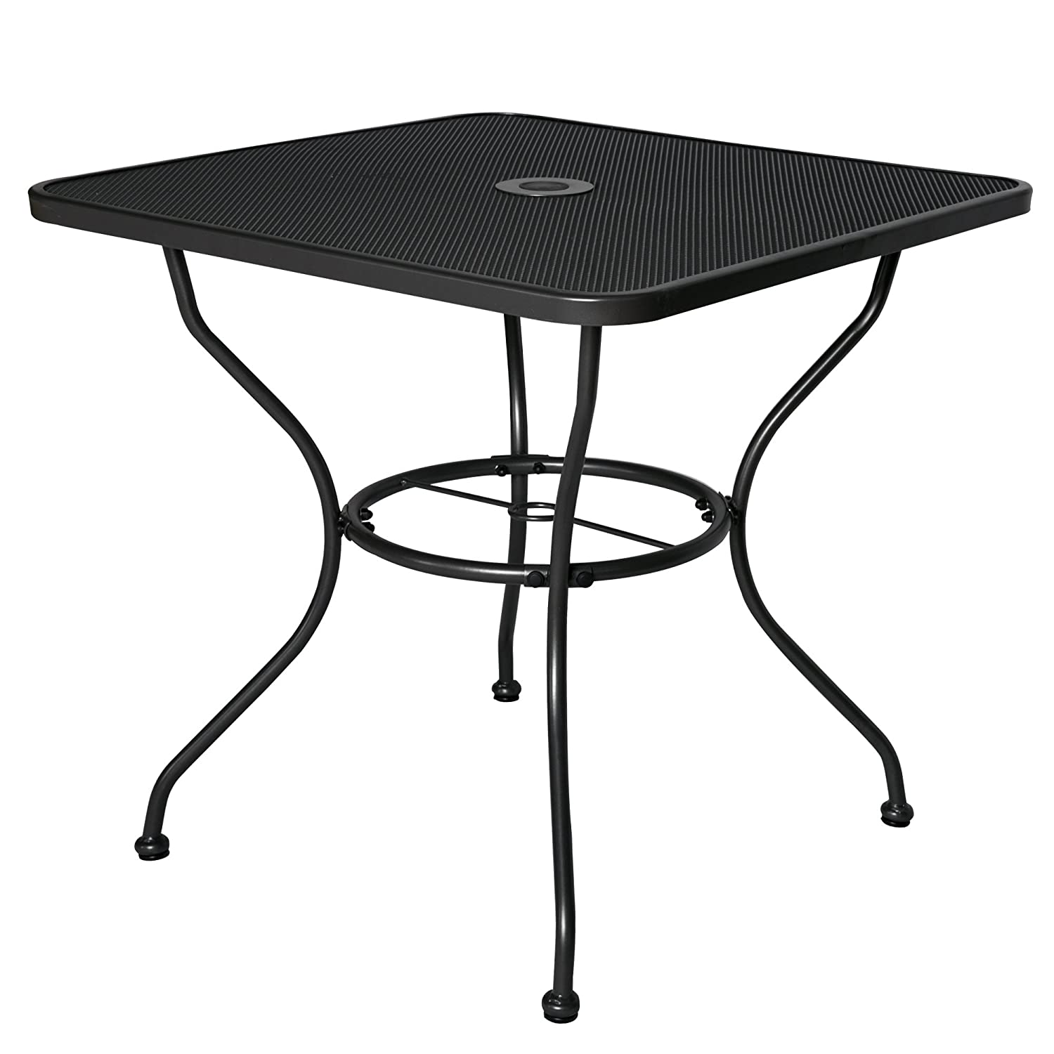 Cloud Mountain 30 x 30 Outoor Dining Table Square Patio Bistro Table Powder-Coated Steel Frame Top Umbrella Stand Deck Outdoor Furniture Garden Table, Ash Black