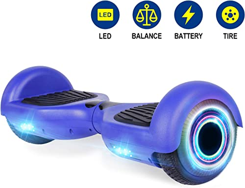 YHR 6.5 Inch Hoverboard with Bluetooth W Speaker, LED Wheels and LED Lights for Kids and Adult