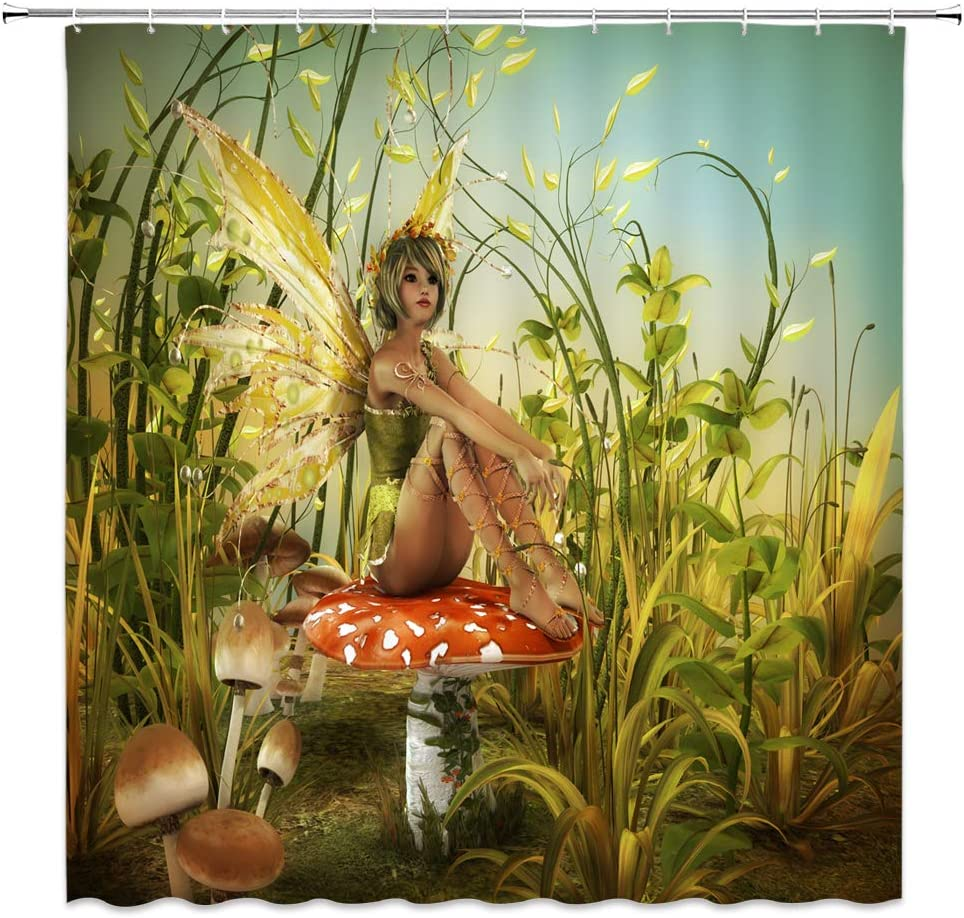 jingjiji Mushroom Fantasy Shower Curtain Fairy Tale World Jungle Plant Child Elf Bathroom Decoration Curtains Polyester Fabric Waterproof with Hook 70 X 70 Inch Green Red (70 X 70 Inch)