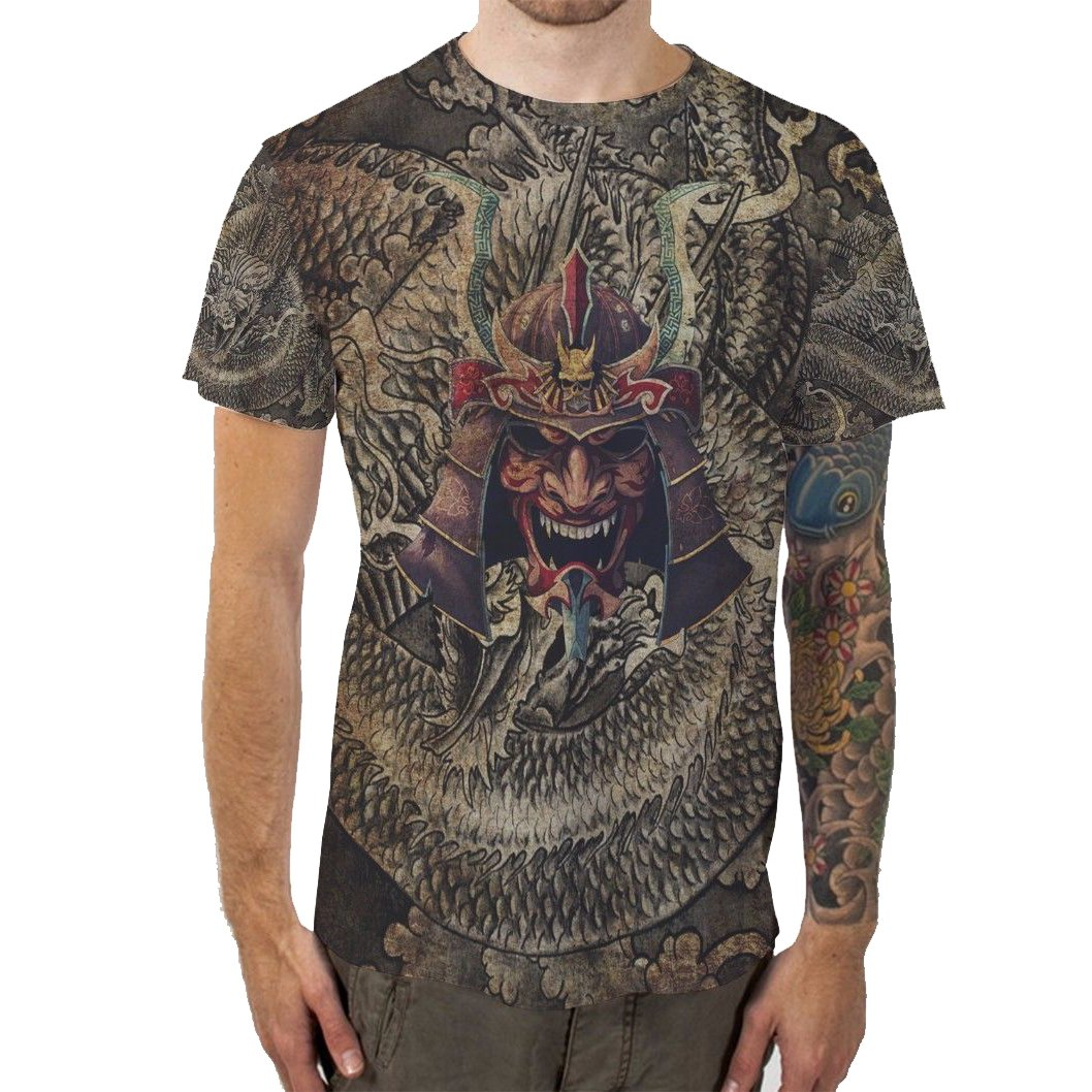 Japanese Samurai TeeメンズTシャツTee Fullprint TシャツサイズL   B073YY8FB1