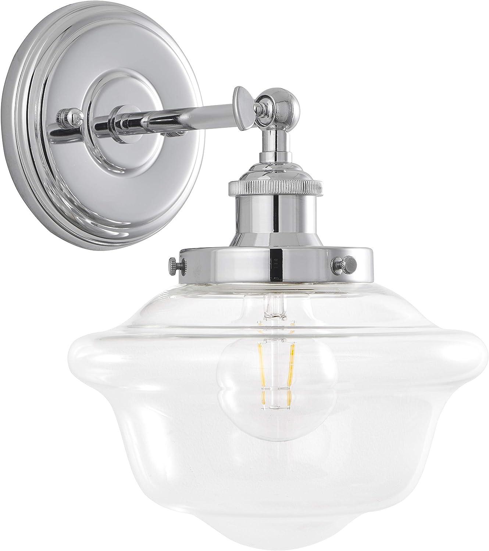 Lavagna 1 Light LED Bathroom Vanity Chrome with Clear Glass Linea di Liara LL-WL271-CLEAR-PC