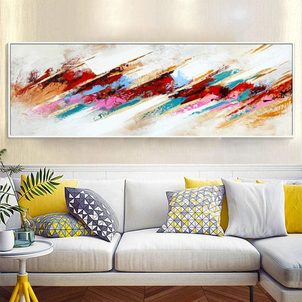 IGNIUBI Pintura al óleo Abstracta Moderna sobre Lienzo Carteles e Impresiones Arte de la Pared Pintura Cuadros Abstractos Multicolores para la decoración de la Sala de Estar 40x120cm sin Marco