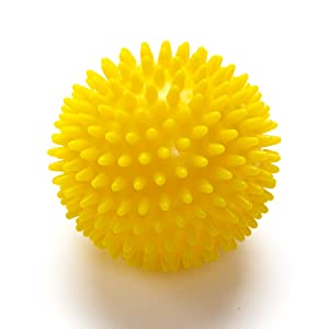 Black Mountain Products Deep Tissue Massage Ball with Spikes, Yellow