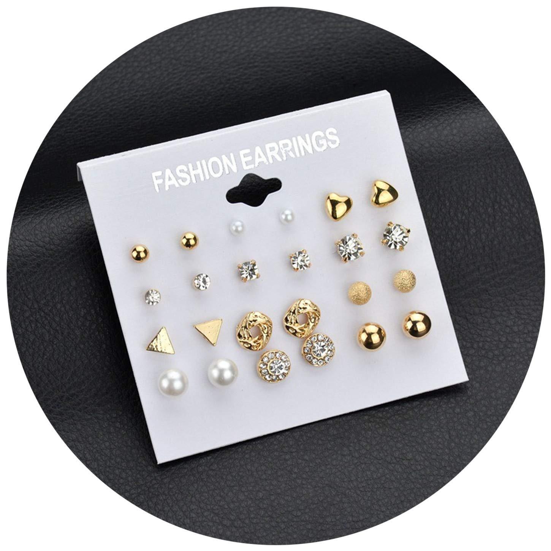 Natural Punk Fashion Stud Earrings Set for Women Elegant Mixed Crystal Heart Metal Ball Earrings Weddin