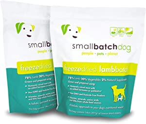 Smallbatch Pets Freeze-Dried Premium Raw Food Diet for Dogs, 2-Pack, Lamb Recipe, 14 oz in Each Bag (28 oz Total), Made in The USA, Organic Produce, Humanely Raised Meat, Hydrate and Serve Patties