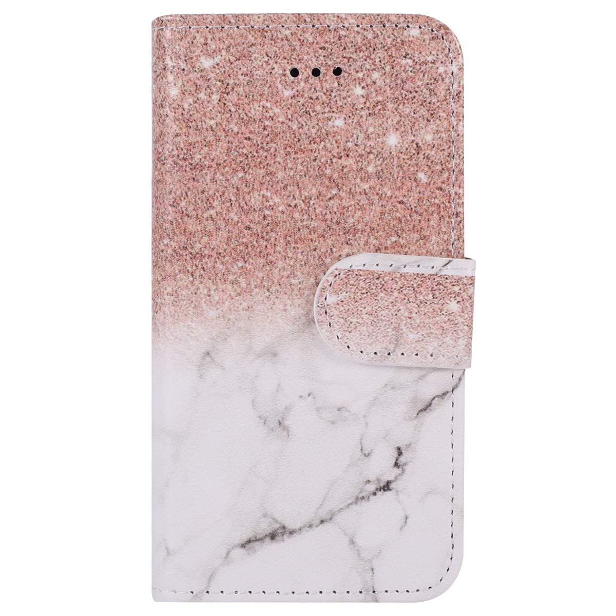Surakey Galaxy S9 Case, Galaxy S9 Case, Galaxy S9 Case Wallet Case PU Leather Flip Case Cover Rubber Back Holder Magnetic Clip & Card Holders Stand Case for Samsung Galaxy S9, Rose gold white SUR005525