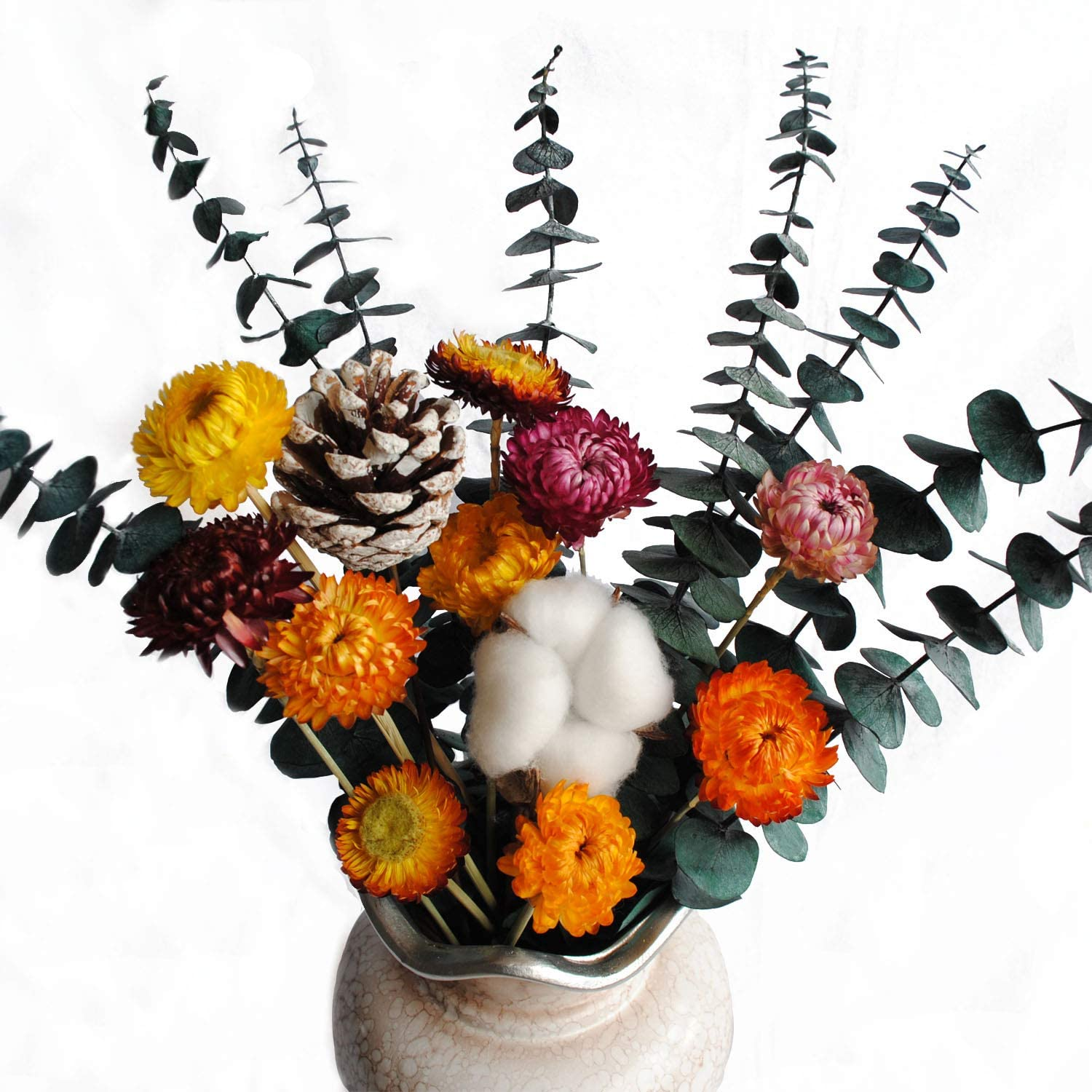 CAIYUN MANOR Eucalyptus Leaves Natural Dried Chrysanthemum Cotton Boll Dried Pine Cones DIY Combination Bouquet
