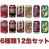 ドクターペッパー・ ドクターペッパーチェリー・ A&Wルートビア・ A&Wクリームソーダ・ コカ・コーラチェリーコーク・セブンアップ 6種類12本セット