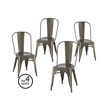ARREDinITALY Set 4 Stuhle Replica Tolix Stahl Verzinkt Hohe Qualitat Stapelbar