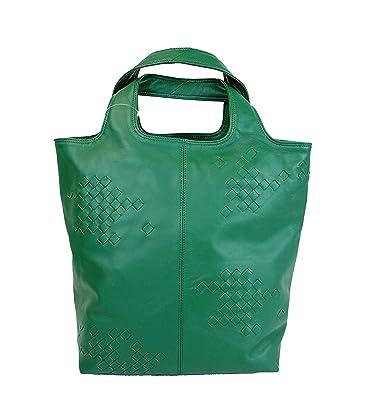 5a3f57d66428 Amazon.com  Bottega Veneta Woven Detail Green Leather Tote Bag 297981 3105   Shoes