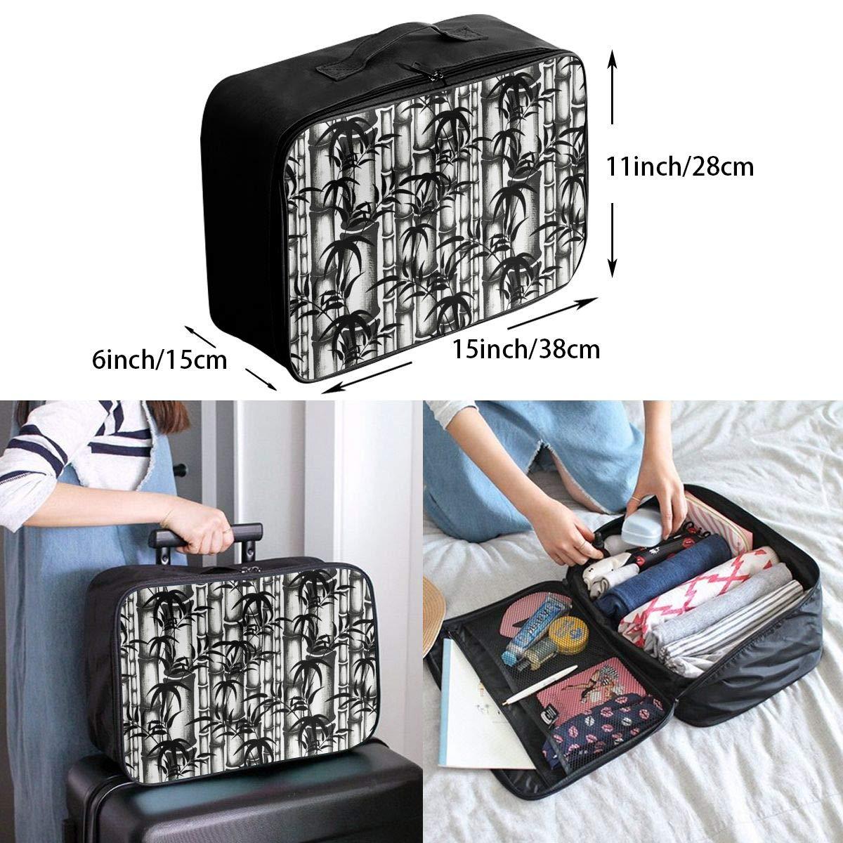 Travel Luggage Duffle Bag Lightweight Portable Handbag Bamboo Painting Large Capacity Waterproof Foldable Storage Tote