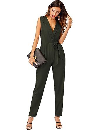 ebe58edf9c1e Romwe Women s Shawl Collar Zipper Back Knot Maxi Jumpsuit Green S