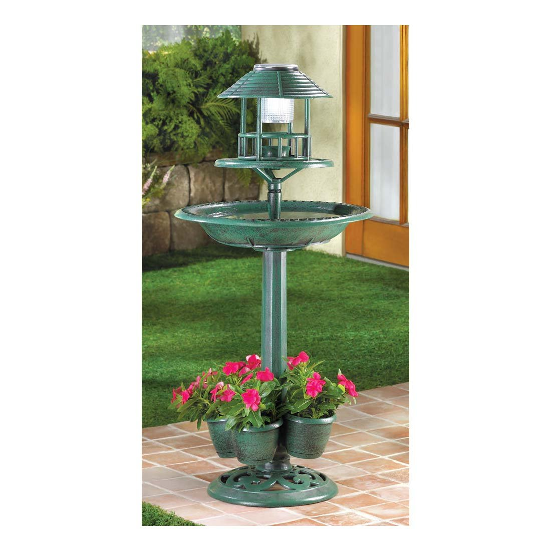 3 in1 SOLAR LED light plastic bird bath Bird feeder plant stand flower planter -17'' diameter x 36½'' high