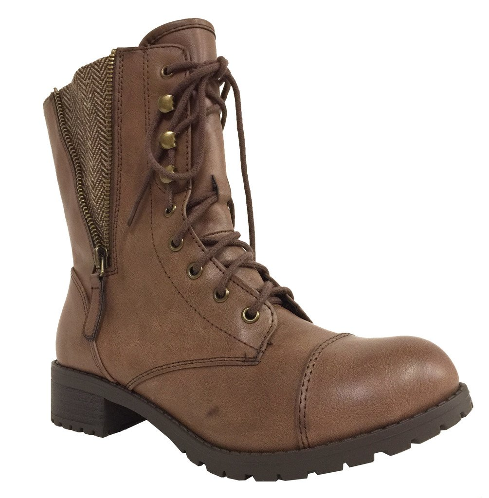 Footer! Women's Military Style Lug Sole Lace up Mid-Calf Combat Boot,9 B(M) US,Brown Leatherette