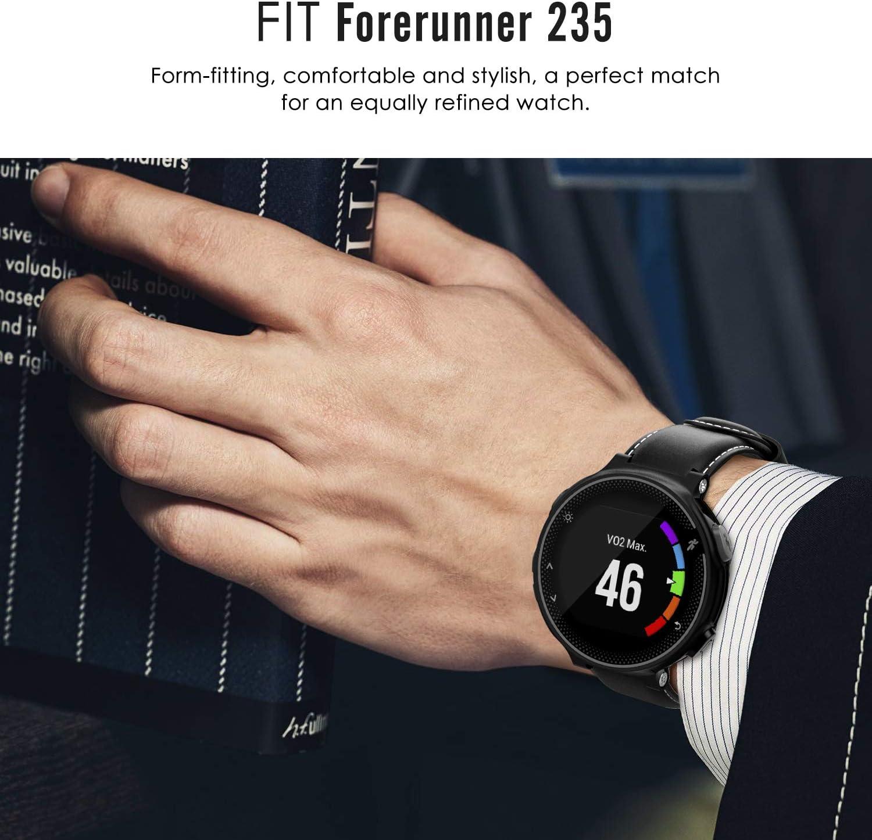 Gris Fonc/é Classique en Cuir V/éritable Bande de Montre Bracelet avec Fermoir en M/étal 220//230 735XT 620//630 MoKo Bracelet pour Garmin Forerunner 235//235 Lite