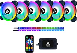 Apevia TL612L2S-RGB Twilight 120mm Silent Dual-Ring Addressable RGB Color Changing LED Fan with Remote Control, 28x LEDs & 8X Anti-Vibration Rubber Pads w/ 2 Magnetic Addressable LED Strips (6+2-pk)
