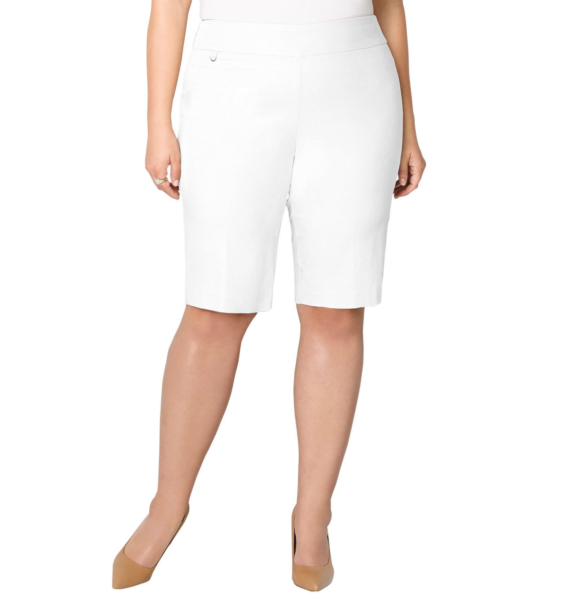 Avenue Women's Super Stretch Pull-On Bermuda Short, 18 White