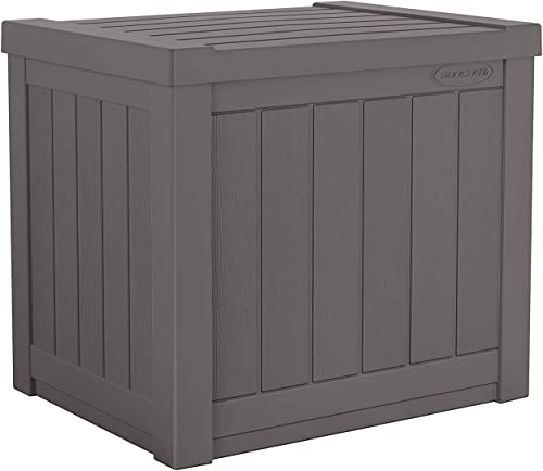 Suncast 22-Gallon Small Deck Box – Lightweight Resin Indoor Outdoor Storage Container and Seat for Patio Cushions and Gardening Tools – Store Items on Patio, Garage, Yard – Stone Gray