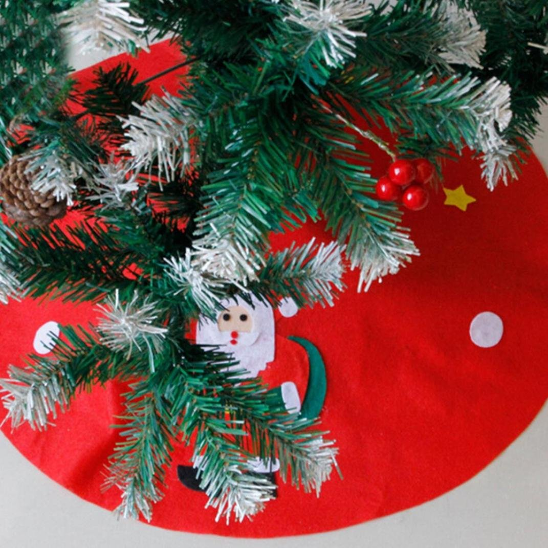 Amiley Christmas Tree Skirt , 2018 Christmas Santa & Snowman Non-woven Christmas Tree Skirts Party Decoration New Year Party Supply gift (S:4545cm)