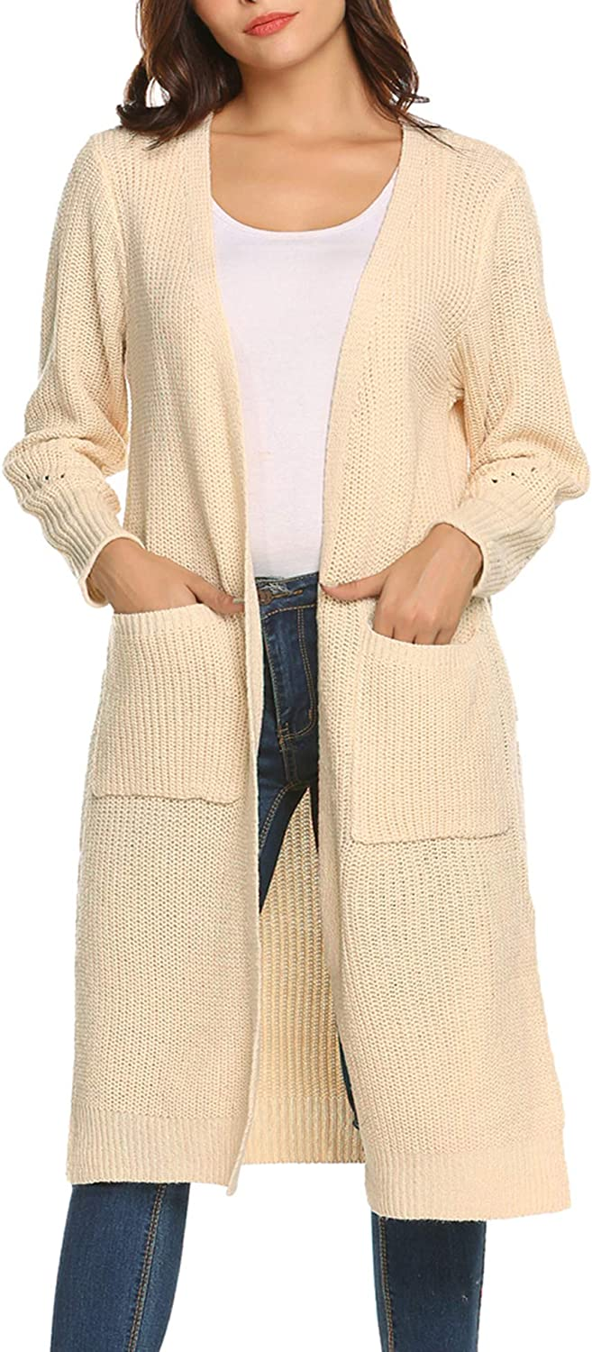 Women's Sweater Long Sleeve Open Front Knit Long Cardigan Casual Knitted Maxi Sweater Coat Outwear with Pockets