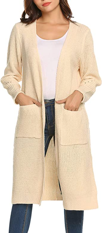 Women/'s Casual Long Open Front Drape Maxi Long Sleeve Tops Cardigan with Pocket