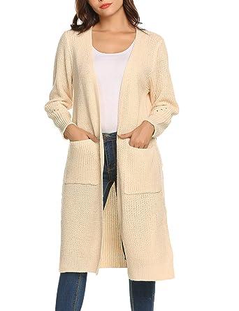 4c15233c72 Women s Long Open Front Drape Maxi Long Sleeve Cardigan Warm for Autumn  Spring Beige