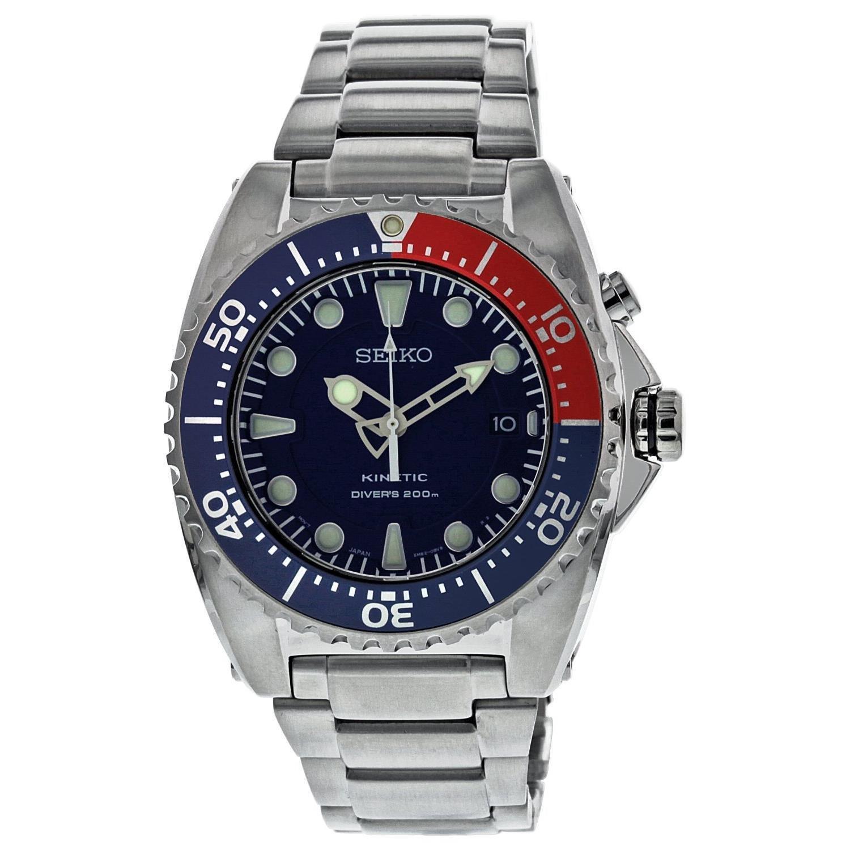 Edelstahl Kinetische Prospex Stahl Herren Uhr Zifferblatt Blau Tauchgang