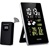 Protmex Wireless Weather Station EM3352C Wireless Digital Color Forecast Station with Alerts Alarm Clock with Forecast Temperature Humidity Barometric Pressure with Outdoor Sensor