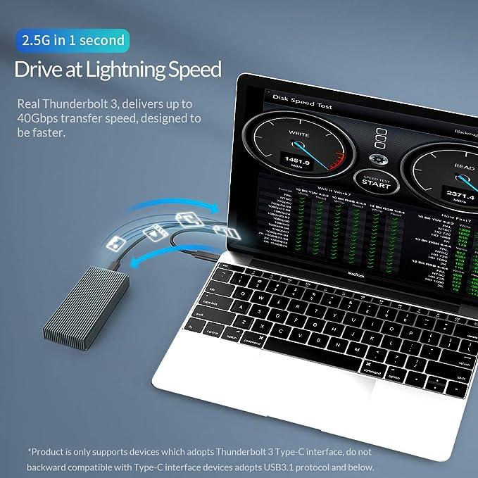 Caja de Disco Duro móvil, Thunderbolt SSD 3 Caso NVMe M.2 SSD ...