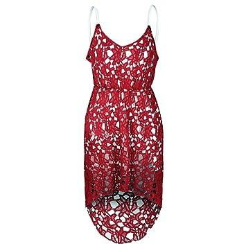 Domybest - Vestido corto de cóctel para mujer, sin mangas, encaje, para fiesta