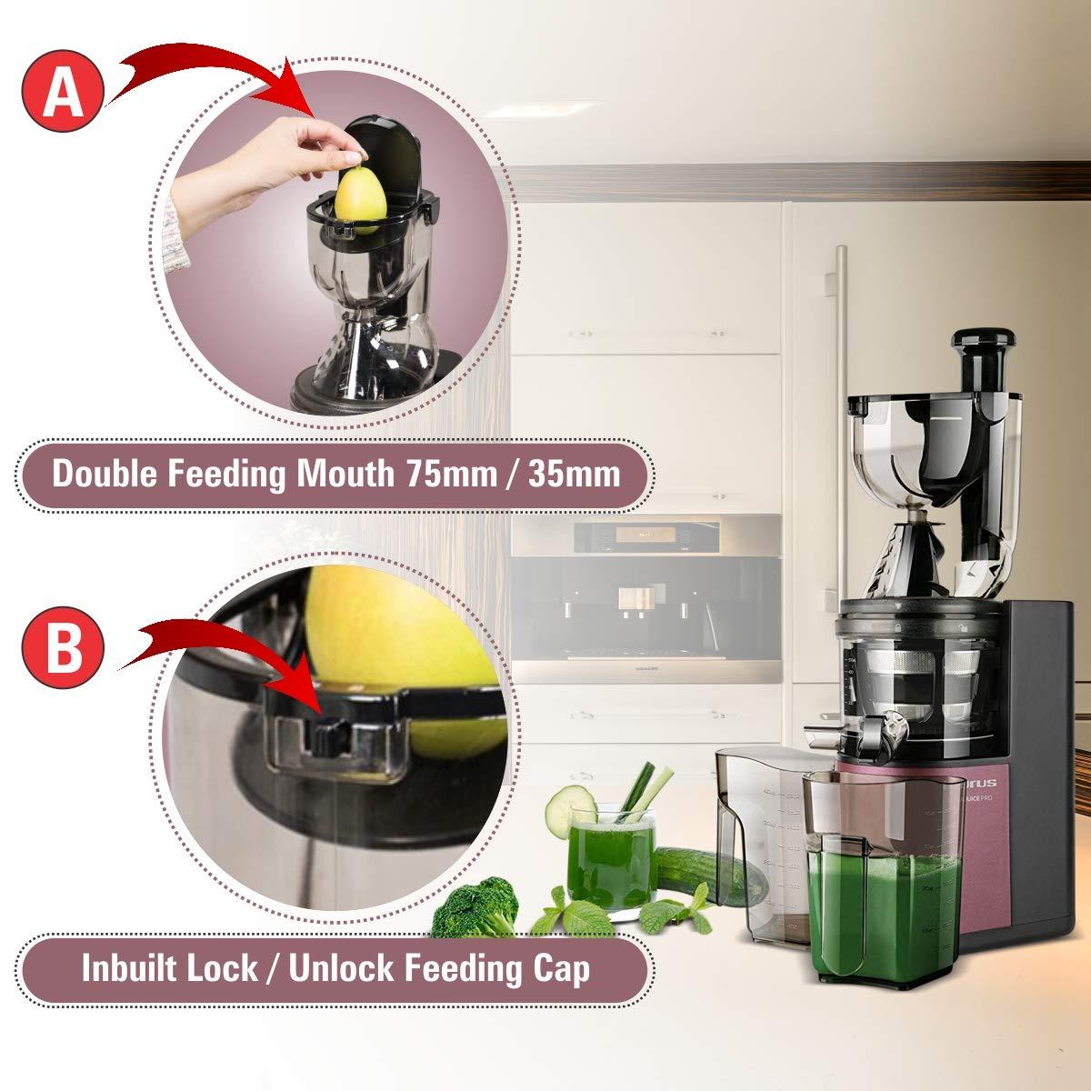 Taurus Liquajuice Pro-Licuadora extraccion en Frio (200 W, 43 RPM, Sistema antigoteo), Color Rosa: Amazon.es: Hogar
