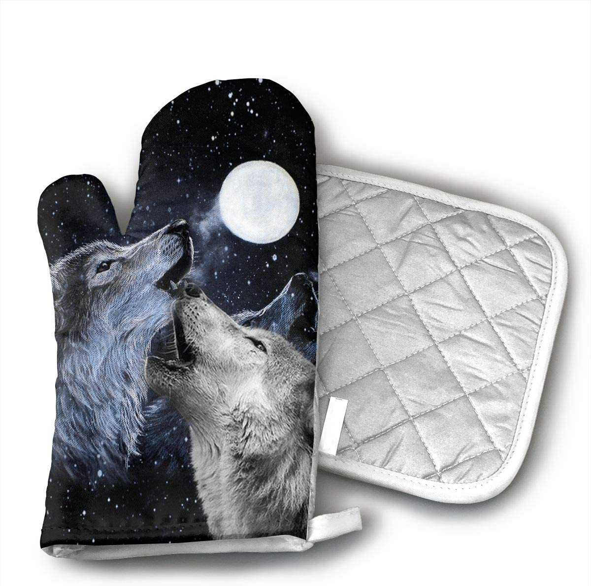 HEPKL Oven Mitts and Potholders Two Wolf and Moon Non-Slip Grip Heat Resistant Oven Gloves BBQ Cooking Baking Grilling