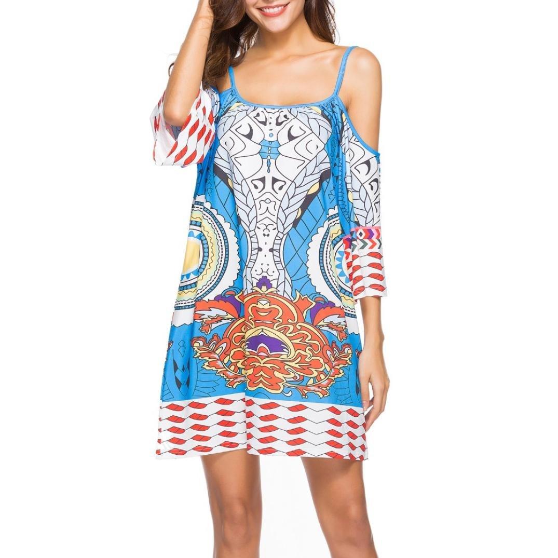 94348d9ea18 Zerototens Women Bohemia Beach Dress Short Sleeve Summer Maxi Party Holiday  Sundress Print Floral Off Shoulder Sling National Wind Print Halter Casual  Short ...