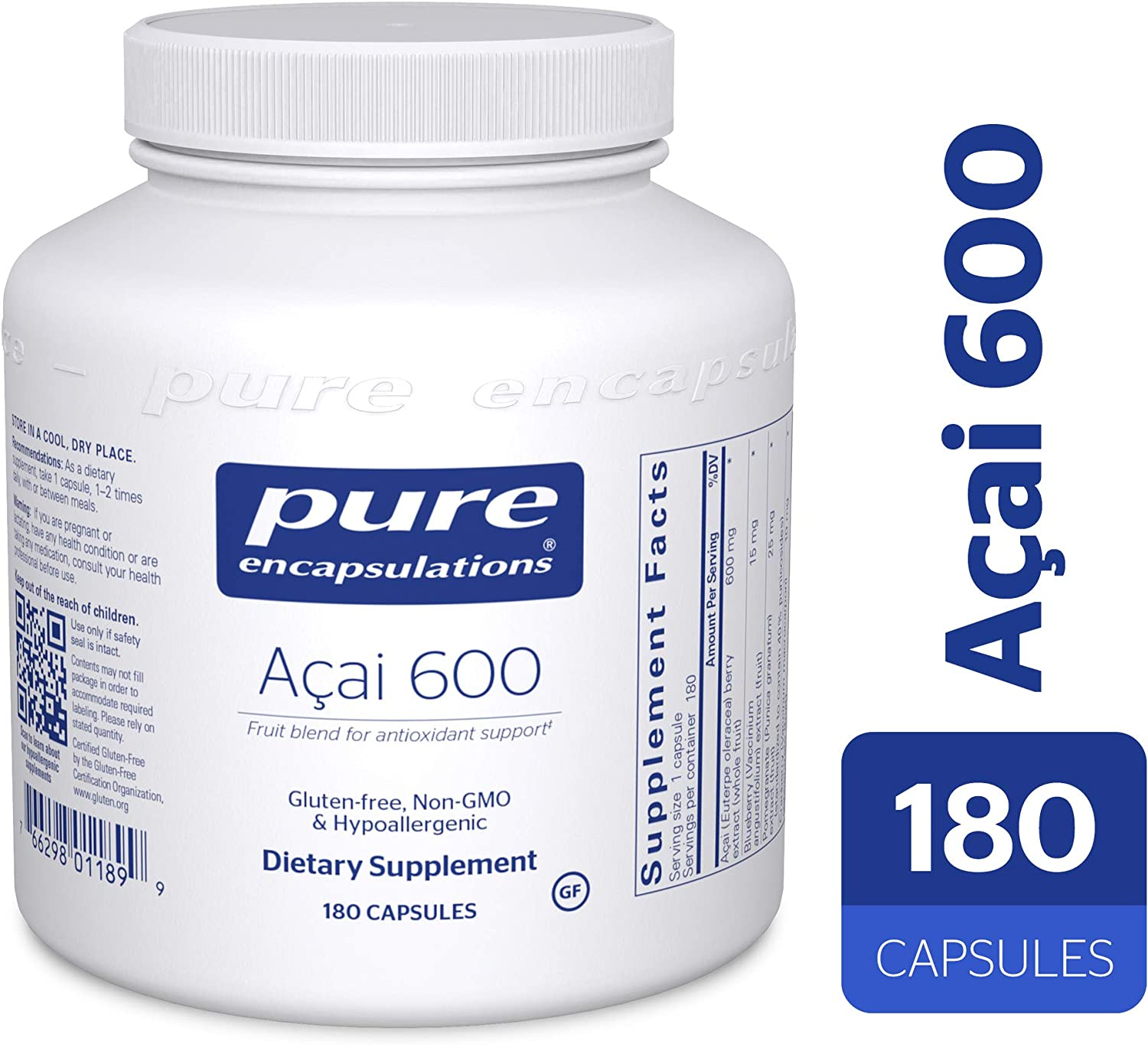 Pure Encapsulations – Acai 600 – Hypoallergenic Berry and Fruit Supplement for Antioxidant Protection* – 180 Capsules