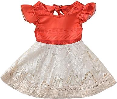 Sejardin Disfraz de Moana para niña con Volantes a Juego - Rojo ...