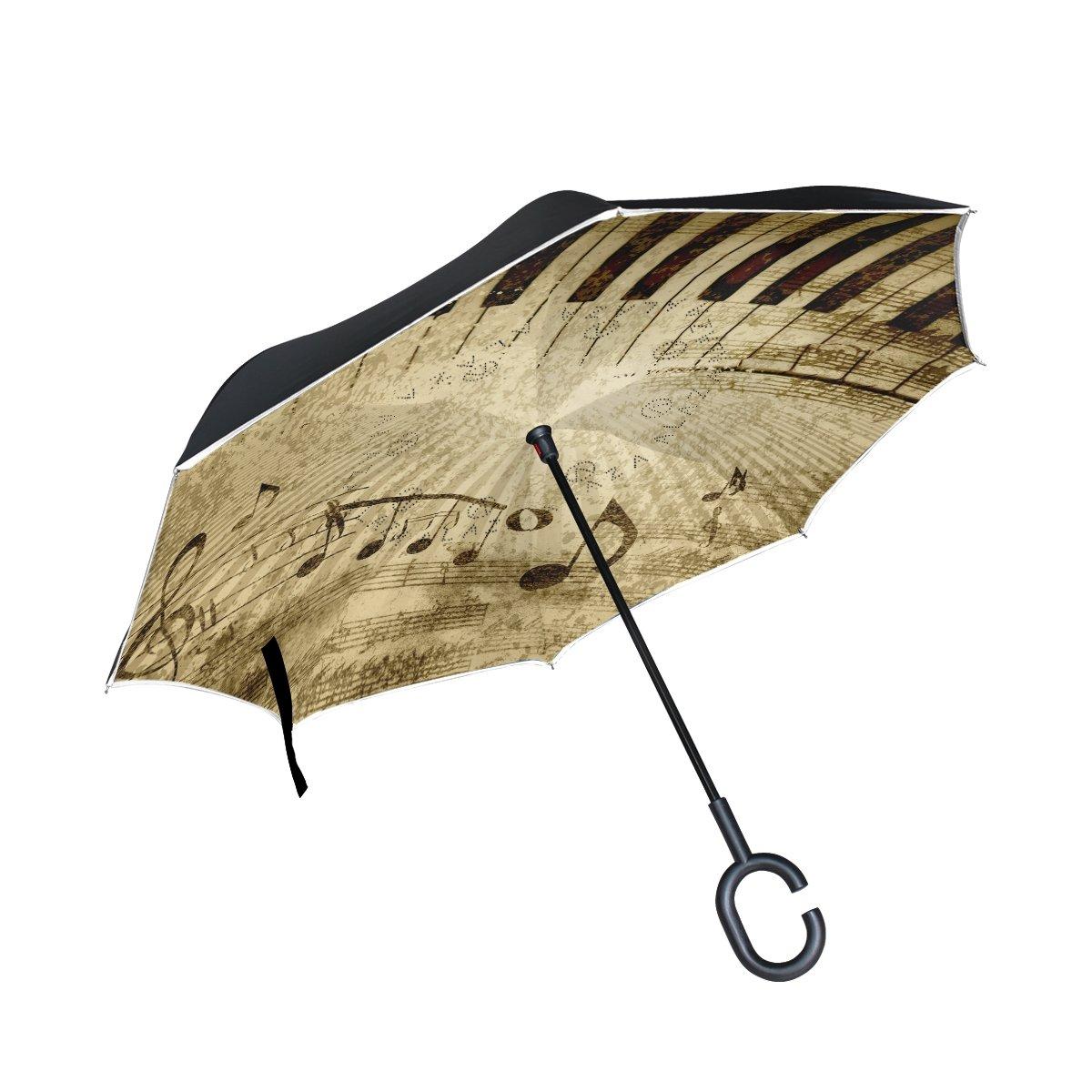 mydaily Double Layer seitenverkehrt Regenschirm Cars Rü ckseite Regenschirm Klavier Schlü ssel Musik Note Vintage winddicht UV Proof Reisen Outdoor Regenschirm