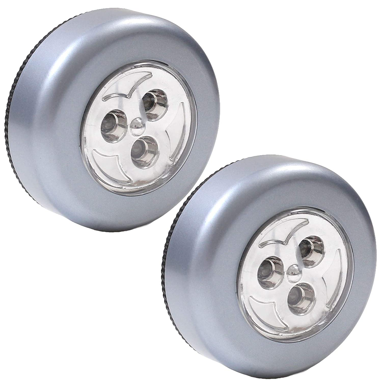 2X Bright LED Push Button Lights Self Stick Adhesive Backing Spot Lamp White Hinge