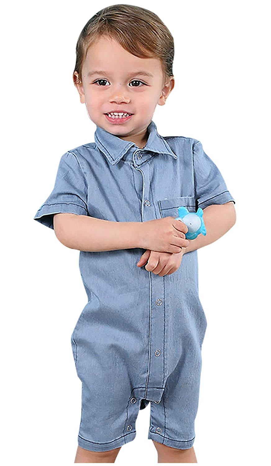 FEOYA Baby Boys Solid Short Sleeve Romper Summer Breathable Snap-up Creeper Jumpsuit with Pocket