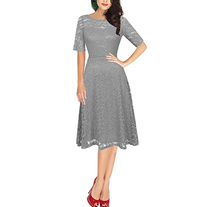 Dolamen Mujer Cordón Vestidos, Cuello redondo Vintage y estilo retro, Slim Fit A-
