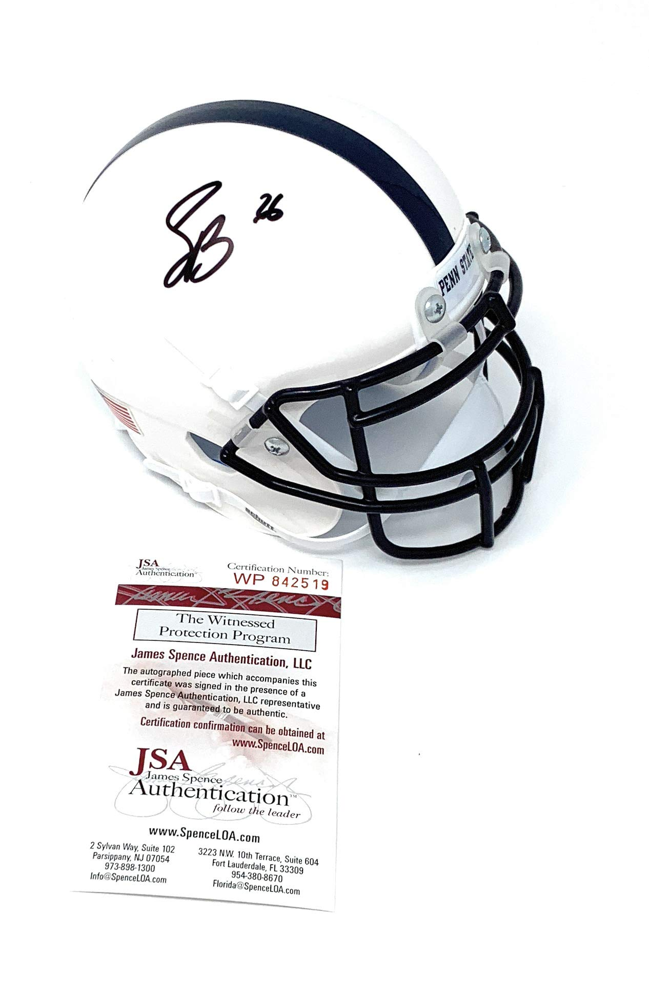 Saquon Barkley Penn State Nittany Lions Signed Autograph Schutt Mini Helmet JSA Witnessed Certified