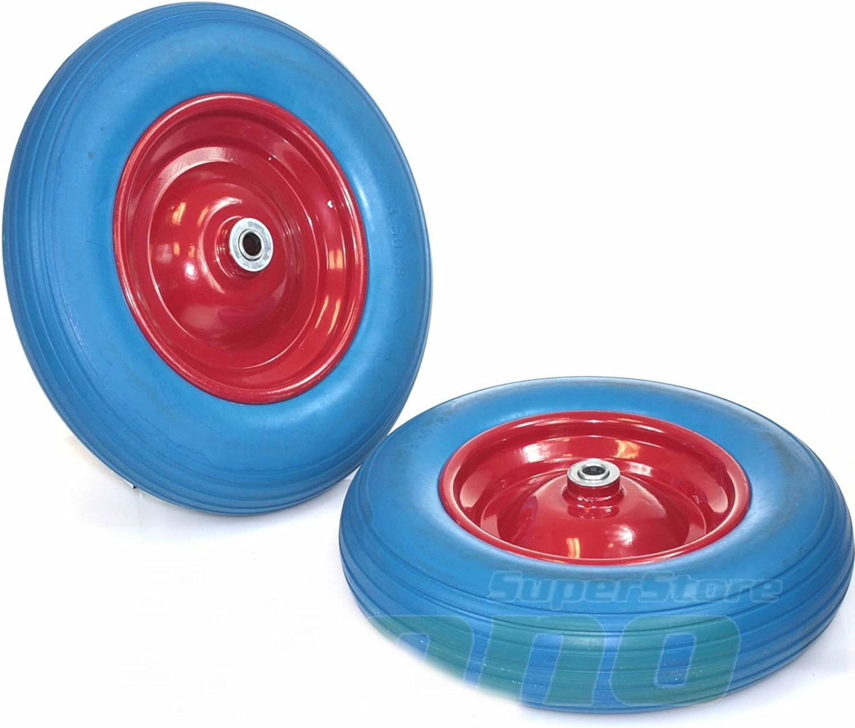 "One Pair 14"" Flat Free Wheel Barrow Tire Foamed Polyurethane Wheelbarrow Tires"