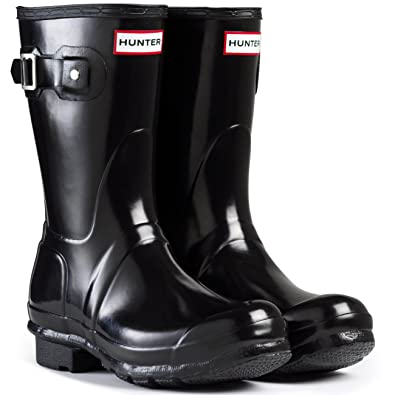 01059c9b8 Amazon.com | Hunter Women's Original Short Gloss Rain Boots (7 M US, Black)  | Mid-Calf