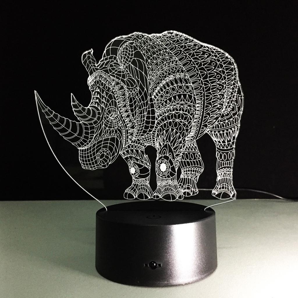 ZQQ 3D Luz de la noche LED Colorido Acrílico Rhino Estéreo ...