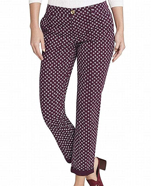 2cab43a6 Image Unavailable. Image not available for. Color: Tommy Hilfiger $69 Womens  New 1409 Maroon Floral Slim Chino Pants ...