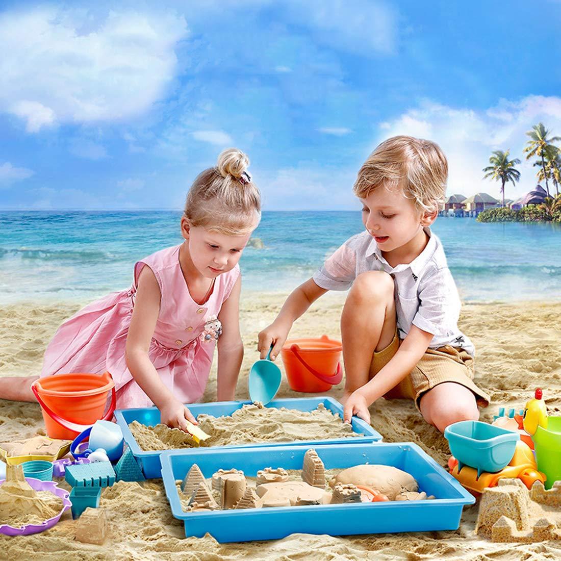 Color Aleatorio 22 Piezas Juego de Arena Set de Playa con Juguete de Buggy de Playa para Ni/ños Rolanli Juguetes de Playa