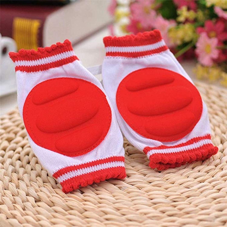 Ginocchiere per gattonare neonati bambini elastiche confezione 4 paia 2 gialle e 2 rosse