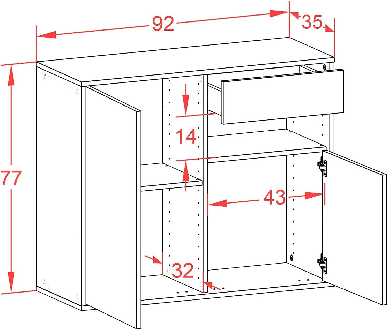 92x77x35cm Push-to-Open Front rostigen Industrie-Design Dekati Sideboard Augusta h/ängend Korpus anthrazit matt