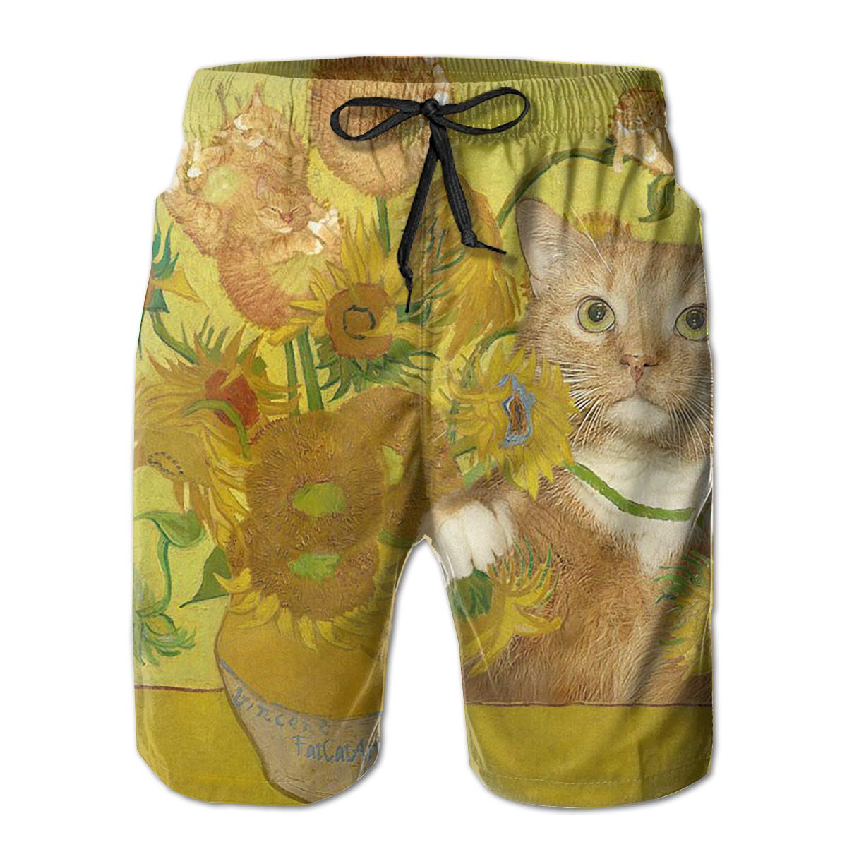 Mens Swim Trunks Sunflowers Cat Kitten Quick Dry Beach Board Shorts with Mesh Lining