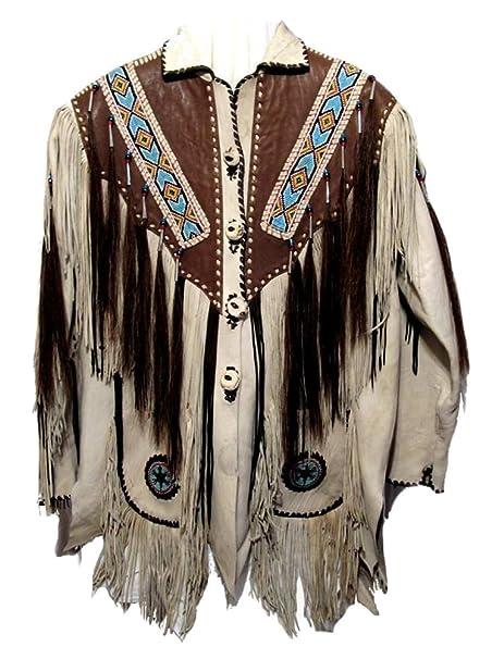 classyak Hombres de Western flecos, con cuentas y huesos chaqueta de piel: Amazon.es: Ropa y accesorios