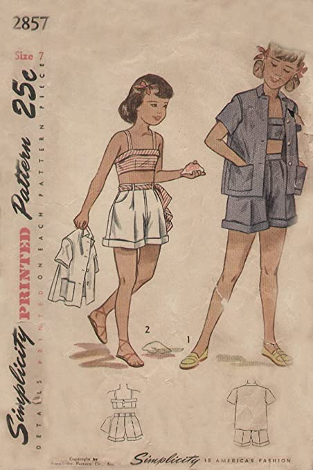 a61f9274279 Image Unavailable. Image not available for. Color  Simplicity 2857 Vintage  1940s Girls Playsuit ...